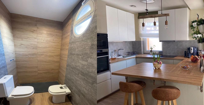Baño y Cocina reformados con losetas autoadhesivas Easy Cove Pro.